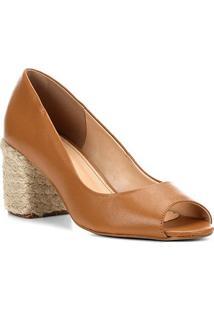 e40dde4d5ca7a ... Peep Toe Couro Shoestock Salto Bloco Corda - Feminino-Caramelo