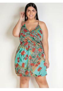 Vestido Curto Floral Com Transpasse Plus Size