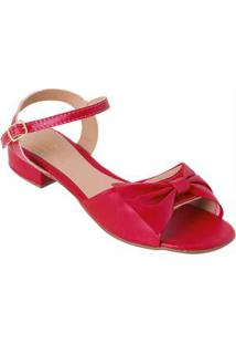 Sandália Vermelha Com Detalhe De Laço