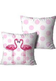 Kit 2 Capas Love Decor Para Almofadas Decorativas Flamingos Poa Multicolorido Branco - Kanui