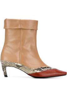 Salondeju Ankle Boot Com Acabamento Contrastante - Marrom