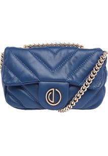 Bolsa Couro Mini Transversal Matelasse Premium Azul