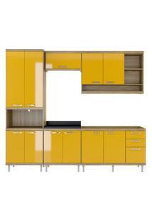 Cozinha 5 Módulos Argila Acetinado Texturizado E Amarelo Multimóveis