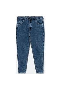 Calça Skinny Jeans Com Cinto E Fivela De Metal Curve & Plus Size   Ashua Curve E Plus Size   Azul   50