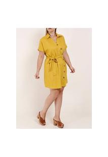 Vestido Manga Curta Plus Size Feminino Amarelo