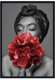 Quadro 60X90Cm Dandara Mulher Com Flor Vermelha Nórdico Moldura Preta Com Vidro