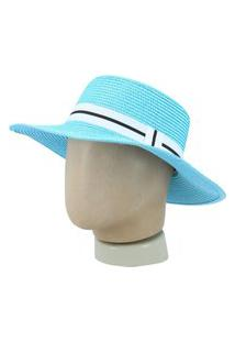 Chapéu Feminino De Palha Chapéu Feminino De Palha Azul Claro