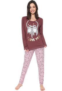 Pijama Bela Notte I Love You Vinho/Rosa