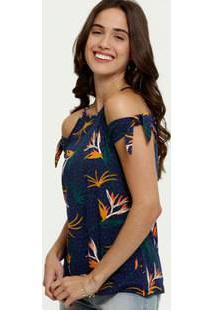 Blusa Feminina Open Shoulder Estampa Tropical