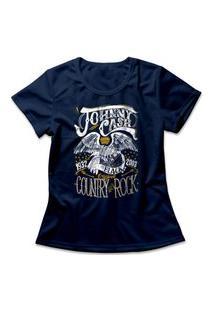 Camiseta Feminina Johnny Cash Country Rock Azul Marinho
