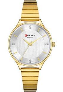 Relógio Curren Analógico C9041L Feminino - Feminino-Dourado