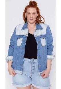 Jaqueta Almaria Plus Size Clamarroca Jeans Patchwo