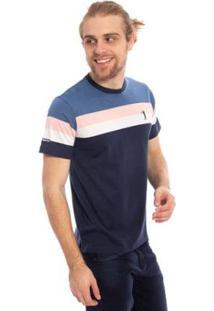 Camiseta Aleatory Listrada Wild Masculina - Masculino-Azul