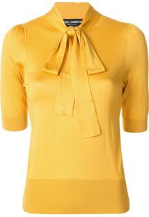 Dolce & Gabbana Blusa Com Laço Na Gola - Amarelo