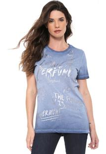 Camiseta Lança Perfume Alongada Azul