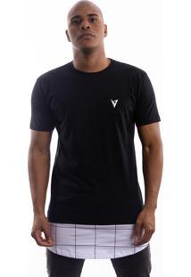Camiseta Manga Curta Valks Longline Lines Preta