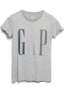 Camiseta Gap Logo Glitter Cinza