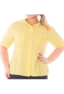 Camisa Feminina Casual Manga Curta Plus Size