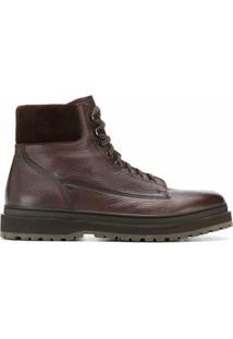 Henderson Baracco Ankle Boot Com Cadarço E Textura - Marrom