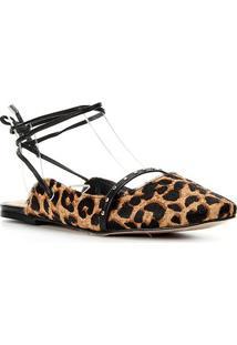 Sapatilha Couro Shoestock Onça Cravos Feminina - Feminino