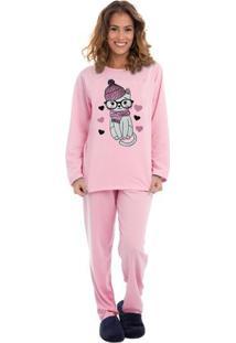 Pijama Feminino De Moletinho Pinguins Luna Cuore