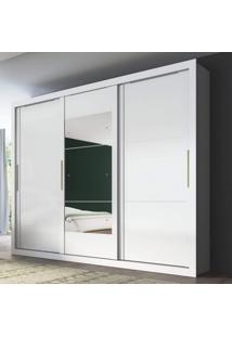 Guarda Roupas 3 Portas De Correr Com Espelho Flex Argos Carraro Branco/Native