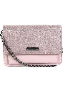 Bolsa Shoestock Mini Bag Tiracolo Metalizada Feminina - Feminino-Nude