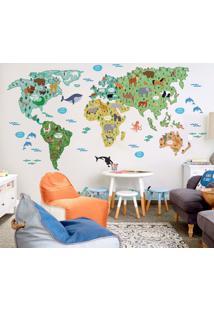 Papel De Parede Mapa Mundi Infantil Animais