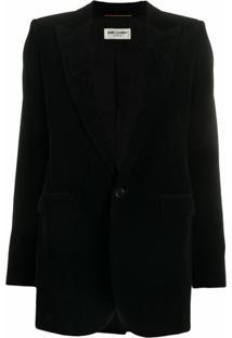Saint Laurent Blazer Com Abotoamento Simples - Preto