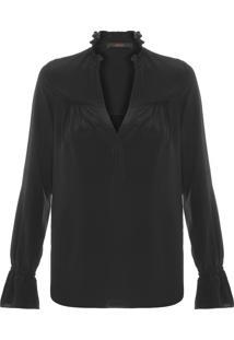 Camisa Feminina Seda Agatha - Preto