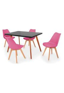 Conjunto Mesa De Jantar Gih 120X80Cm Preta Com 4 Cadeiras Leda - Rosa