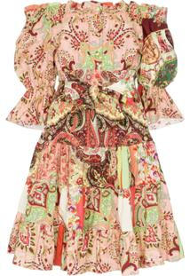 Etro Off The Shoulder Paisley Print Dress - Rosa
