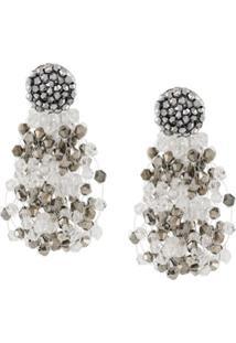 Emporio Armani Multi-Chain Bead Earrings - Cinza
