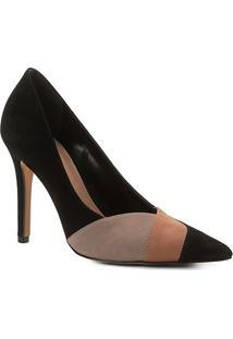 Scarpin Couro Shoestock Salto Alto Nobuck Recortes - Feminino-Preto+Nude