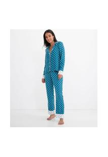 Pijama Americano Manga Longa Estampa Poá Com Calça | Lov | Azul | Gg