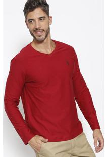 Camiseta Com Bordado & Recortes -Vinhoaleatory