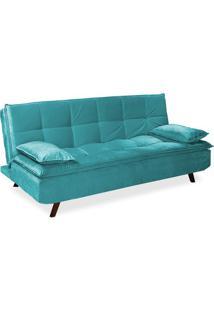 Sofá-Cama Com 2 Almofadas Decorativas, Camurça Oceano Azul, Lisa