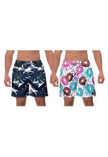 Kit 2 Shorts Moda Praia Verde Escuro Rosquinhas Coloridas Estampado Poliéster Elastano Banho Surf Vôlei W2