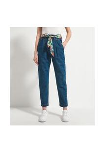 Calça Clochard Jeans Lisa Com Cinto Faixa Estampado