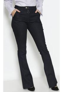 b014082281 ... Jeans Flare Com Bolso- Azul Escurodudalina