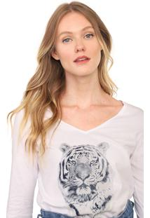 Blusa Malwee Tigre Branca
