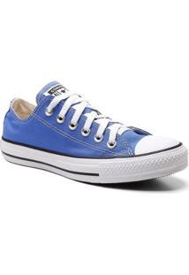 Tênis All Star Converse Liso Cadarço Cano Baixo Feminino - Feminino-Azul
