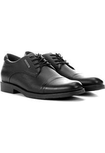 Sapato Social Couro West Coast Los Angeles Texturizado Masculino - Masculino-Preto