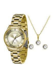 Kit De Relógio Analógico Lince Feminino + Brinco + Colar- Lrg4376L Kf00C1Kx Dourado