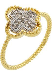 Anel Narcizza Semijoias Trevo De 4 Folhas Cravejado Com Zircônia Cristal Ouro