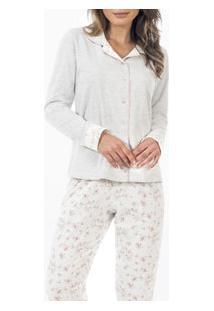 Pijama Longo Aberto Moletinho Floral Laibel (15.011494)