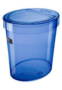 Lixeira Oval Glass 26,2 X 18,4 X 24,6 Cm 5 L Azul Coza