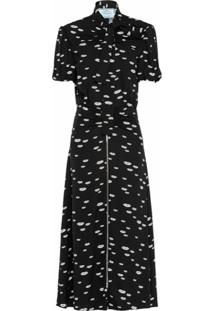 Prada Vestido Com Amarração Na Gola E Estampa De Lábios - Preto