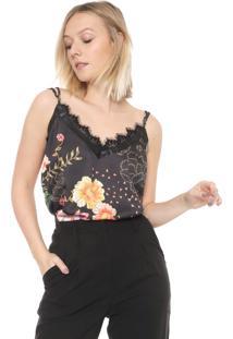Regata Ana Hickmann Cetim Fashion Rock Preta
