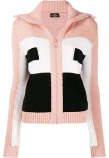 Elisabetta Franchi Colour-Block Knit Cardigan - Rosa